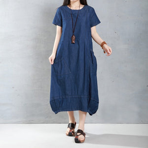 ZANZEA Women Short Sleeve Crew Neck Denim Look Baggy Casual Loose Dress Pockets