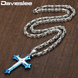 Davieslee Jewelry  Mens Byzantine Box Stainless Steel Cross Pendant Necklace Chain 22inch 24inch 5 Colors