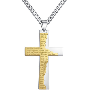 Stainless Steel Men's Cross W. Ip Tablet Prayer in English Pendant Necklace