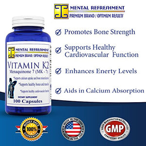 SHIP BY USPS: Vitamin K2 - Menaquinone 7 (MK7) - 100mcg, 100 Capsules (1 Bottle) - Made in USA