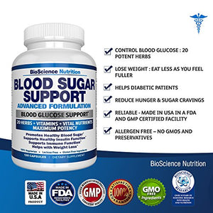 SHIP BY USPS Blood Sugar Support Supplement – 20 HERBS & Multivitamin for Blood Sugar Control with Alpha Lipoic Acid &...