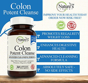 SHIP BY USPS Nature's Potent Colon Cleanse 15 Day Detox Herbal Supplement with Probiotic, Senna Leaf, Flaxseed and Aloe Vera...