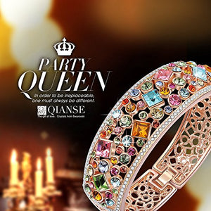 SHIP BY USPS: QianseParty Queen Rose Gold Plated Bangle Bracelet with Multicolor Austrian Preciosa Crystals