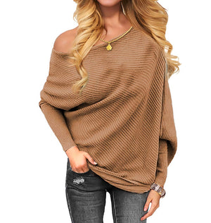 VOIANLIMO Women's Off Shoulder Knit Jumper Long Sleeve Pullover Baggy Solid Sweater