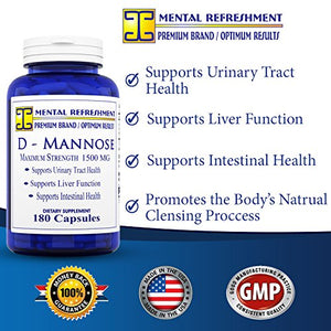 SHIP BY USPS: D-Mannose - 1500mg serving, 180 Capsules #1 Best for Urinary Tract Health (1 Bottle)