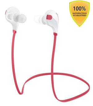 Tecland stereo sport Bluetooth V4.1 wireless headphone, noise cancelling sweat proof in-ear headsets earbuds with microphone for iPhone, iPad iPod and Android Devices (red & white)