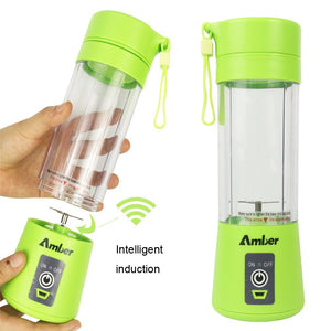 Amber 380ml Protein Shaker Bottle, Portable Mixer Blender, Baby Nutritional Food, Smoothies Mix, Milk-Shake and Fruit Juice, Rechargeable, Green