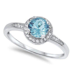 Oxford Diamond Co 1.25ct Halo Set Solitaire Cubic Zirconia & Simulated Gemstone Promise Engagement Ring .925 Sterling Silver Ring Sizes 3-12 Colors Available