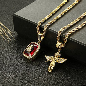 Thunaraz 2Pcs 18k Gold Plated Necklace Angel Hip Hop Pendent Praying Hands Necklace Twist Rope Chain 24'' 30inch