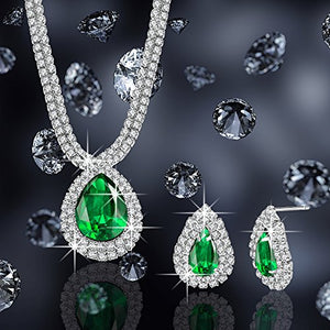 "SHIP BY USPS: ""Elegant Queen"" Water Droplet Green Gemstone Glitter Mini Crystal Charms Jewelry Set Necklace & Earrings"