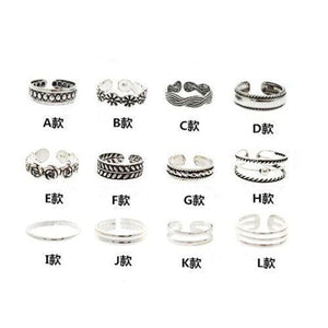 12pcs Celebrity Fashion Retro Silver Carved Flower Adjustable Open Toe Ring Finger Foot Jewelry