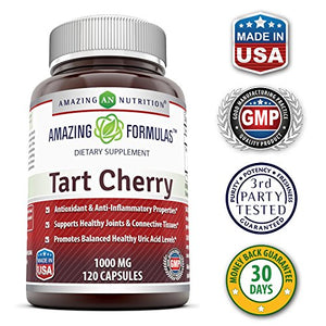 SHIP BY USPS: Amazing Formulas Tart Cherry Extract - 1000 Mg, 120 Capsules