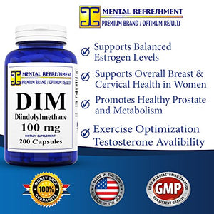 SHIP BY USPS Mental Refreshment: DIM 100mg, 200 Capsules - (Diindolylmethane) (1 Bottle)