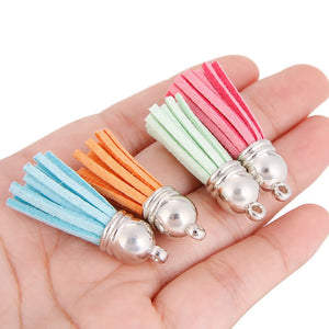 60 Pieces 30 Colors 40 mm Faux Suede Tassel Pendants with Caps for Key Chain Cellphone Straps DIY Accessories