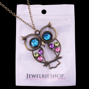 (Lot of 10Pcs) Wholesale Vintage, Retro Colorful Crystal Owl Pendant and Long Chain Necklace