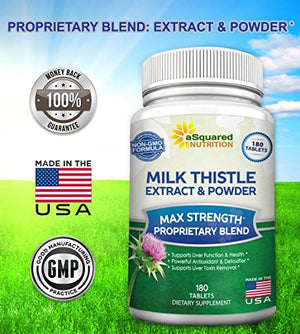 SHIP BY USPS: Pure Milk Thistle Supplement - 180 Tablets, Max Strength Milk Thistle Seed Extract (Standardized to 80%...