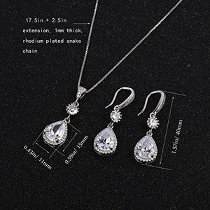 SHIP BY USPS: Elegant Jewelry Set for Wedding - AMYJANE Teardrop Silver Cubic Zirconia Crystal Drop Earrings and Necklace Jewelry Sets Best Gift for Women 5000+ Instagram Like