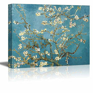 "Canvas Print Wall Art - Almond Blossoms by Vincent Van Gogh Reproduction on Canvas Stretched Gallery Wrap. Ready to Hang -24""x12"" x 3 Panels"