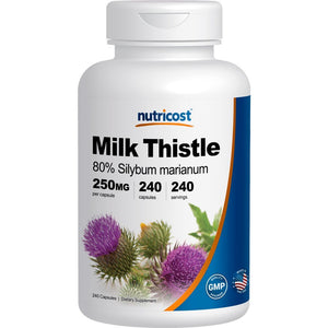 [Pack of 2] Nutricost Milk Thistle 250mg; 240 Capsules Each (2 Bottles)