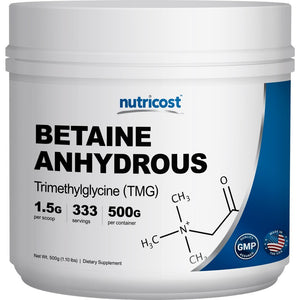 [Pack of 2 x 1.10 LBS] Nutricost Betaine Anhydrous Trimethylglycine (TMG) Powder 500G (2 Bottles)