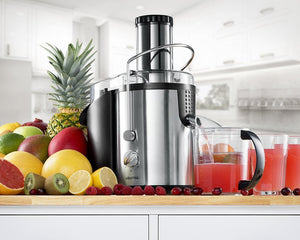 Gourmia GJ1250 Stainless Steel Wide Mouth Juice Extractor & Maker Powerful 1000 ETL Rated Watt Equipped With Safety Lock & Dishwasher Safe, Free Recipe Book Included