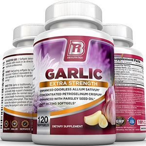 SHIP BY USPS BRI Nutrition Odorless Garlic - 120 Softgels - 1000mg Pure And Potent Garlic Allium Sativum Supplement...