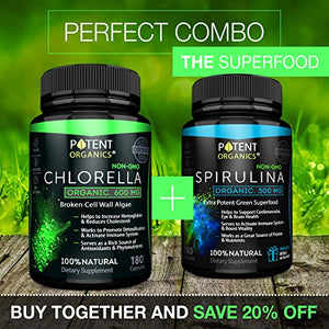 SHIP BY USPS Purest Organic Chlorella with CGF – 180 capsules Non-GMO, 100% Vegetarian & Non-Irradiated – 600 mg