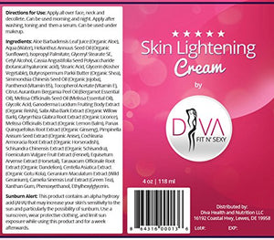 Premium Skin Lightening Cream by Diva Fit & Sexy - Natural Body & Face Brightening Treatment, Provides Total &...