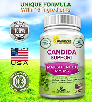 SHIP BY USPS aSquared Nutrition Candida Support Cleanse Supplement - Pure Natural Candida Yeast Infection Support Detox...120 capsules