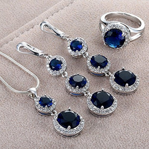 SHIP BY USPS: Women's Sapphire zircon gemstone Necklace Pendant Earrings Ring jewelry sets