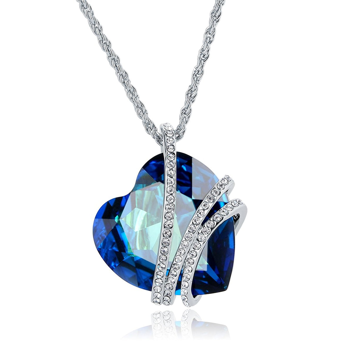 """Blue Heart Shaped Love"" Pendant Necklace Made With Big Crystal of SWAROVSKI"