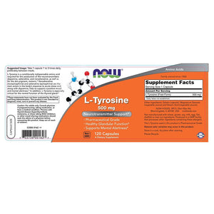 [Pack of 2] NOW L-tyrosine 500mg,120 Capsules Each