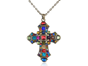 Alilang Ornate Antique Golden Tone Colorful Rhinestone Cross Pendant Necklace