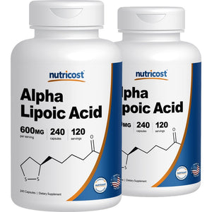 [Pack of 2 x 240 Capsules] Nutricost Alpha Lipoic Acid - 600mg Serving 240 Caps, (2 Bottles)