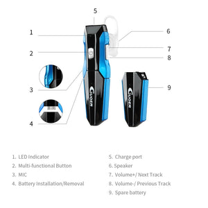 GUOER Bluetooth Headset with Backup Battery Noise Cancellation Wireless Bluetooth Earpiece With Microphone Driving Handsfree Earbuds(Black/Blue)