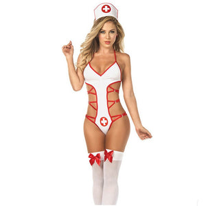 Sexy Nurse Cosplay Costume for Women, Nurse Lingerie Uniform Temptation Sexy Lingerie Suit Role-playing Game Gift Nipples stick
