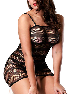 Women Fishnet Lingerie See Through Sleepwear One Piece V-Neck Babydoll Mini Dress One Size