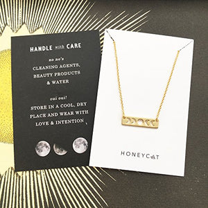 HONEYCAT Moon Phase Necklace in Gold, Rose Gold, or Silver | Delicate Jewelry
