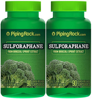 SHIP BY USPS: Piping Rock Sulforaphane From Broccoli Sprout Extract 2 Bottles x 90 Quick Release Capsules Dietary...