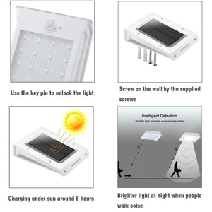 [Pack of 4] Solar Lights,URPOWER 20 LED Outdoor Solar Motion Sensor Lights ,Solar Powered Wireless Waterproof Exterior Security Wall Light for Patio,Deck,Yard,Garden,Path,Home,Driveway,Stairs,NO DIM MODE(4Pack)