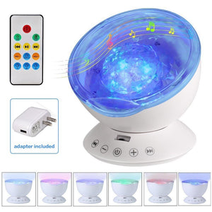[Newest Design] Remote Control Ocean Wave Projector 12 LED &7 Colors Night Light with Built-in Mini Music Player for Living Room and Bedroom (White)