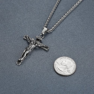 "SHIP BY USPS: Stainless Steel Jesus Christ Crucifix Cross Religious Pendant Necklace, Unisex, 24"" Chain, ddp014"