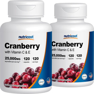 [Pack of 2] Nutricost Cranberry Extract (25,000mg) (120 Caps) (2 Bottles)