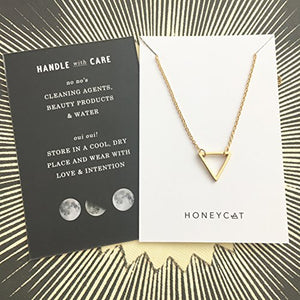 HONEYCAT Outline Triangle Necklace in 24k Gold Plate | Minimalist, Delicate Jewelry