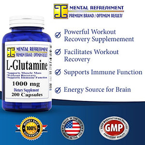SHIP BY USPS: Pure L-Glutamine: Maximum Strength 1000mg 200 Capsules - Supports Muscle Mass & Recovery,...