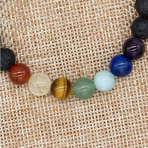 SHIP BY USPS: Bivei 7 Chakra Healing Bracelet W/Real Stones - Lava Stone Diffuser, Yoga Mala Meditation, Gemstones Beads Reiligious Jewelry for Energy Healing, Protection