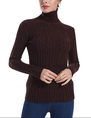 Rocorose Women's Cable Knit Long Sleeves High Neck Pullover Sweaters