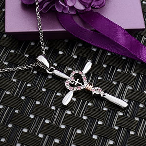 "SHIP BY USPS:  ""Faith Hope Love"" Double Cross Pendant Necklace for Women,Crystals Jewelry White Gold Plated"