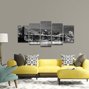 Art - Brooklyn Bridge Night View 5 Panels Modern Landscape Artwork Canvas Prints Abstract Pictures Sensation to Photo Paintings on Canvas Wall Art for Home Decorations Wall Decor