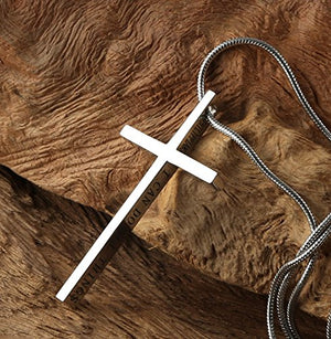 SHIP BY USPS:  Philippians 4:13 Cross Pendant STRENGTH Bible Verse Stainless Steel Necklace